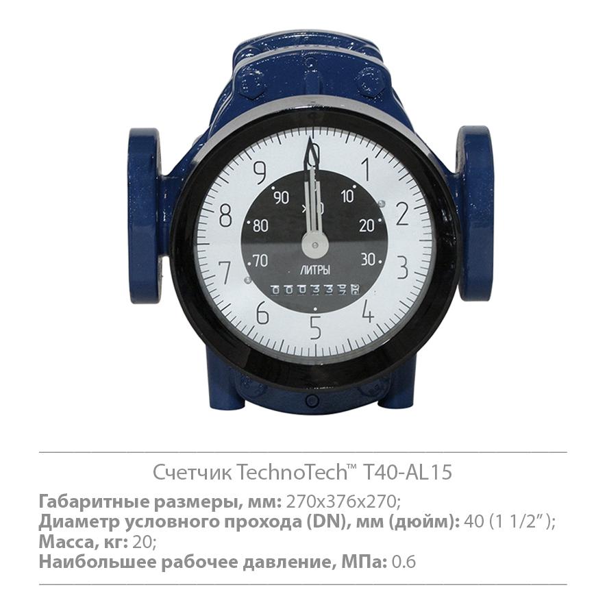 Счетчики жидкости объемные TechnoTech серии Т40-AL15 / T25-AL10
